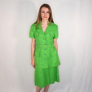 VINTAGE FRANKLIN SIMON Green Skirt & Jacket Set